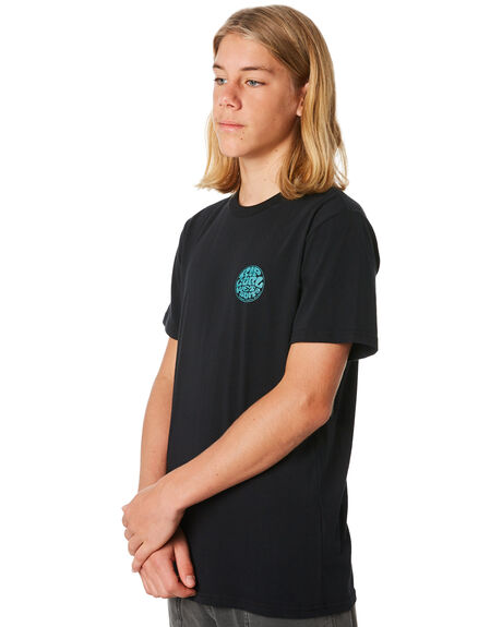 WASHED BLACK KIDS BOYS RIP CURL TOPS - KTEJI98264