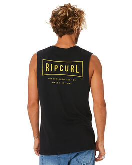 WASHED BLACK MENS CLOTHING RIP CURL SINGLETS - CTESQ28264