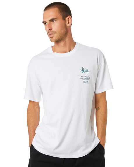 SOLID WHITE MENS CLOTHING STUSSY TEES - ST002001SWHT