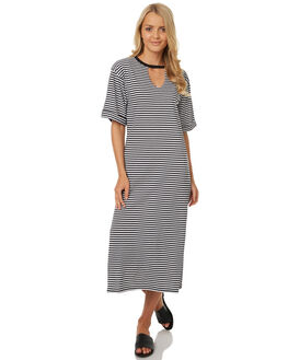 BLACK WHITE STRIPE WOMENS CLOTHING THE FIFTH LABEL DRESSES - TJ170703D-STBKWHT