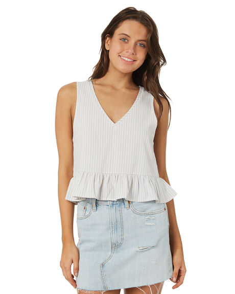 BLUE WHITE STRIPE WOMENS CLOTHING ALL ABOUT EVE FASHION TOPS - 6405095STR