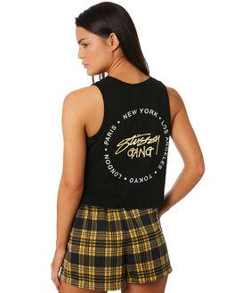 BLACK WOMENS CLOTHING STUSSY SINGLETS - ST183234BLK