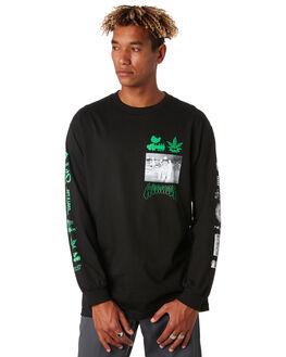 BLACK MENS CLOTHING HUF TEES - TS00977BLACK