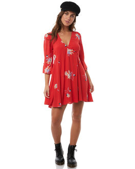 BRIGHT RED WOMENS CLOTHING FREE PEOPLE DRESSES - OB7701516921