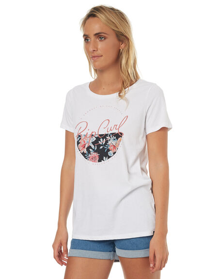WHITE WOMENS CLOTHING RIP CURL TEES - GTETN1WHT