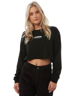 BLACK WOMENS CLOTHING STUSSY TEES - ST185011BLK