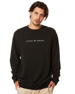BLACK MENS CLOTHING AFENDS JUMPERS - M191501BLK
