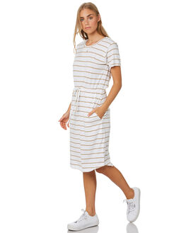 TAN WHITE STRIPE WOMENS CLOTHING SILENT THEORY DRESSES - 6033052STR
