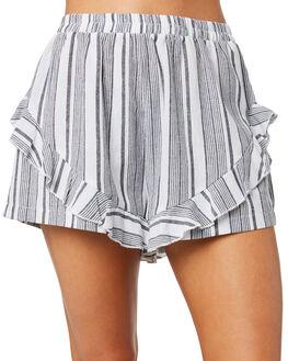 GREY WHITE STRIPE WOMENS CLOTHING ELWOOD SHORTS - W91605-14M