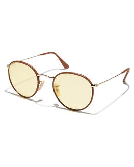 LEATHER LIGHT BROWN UNISEX ADULTS RAY-BAN SUNGLASSES - 0RB3475QBRWN