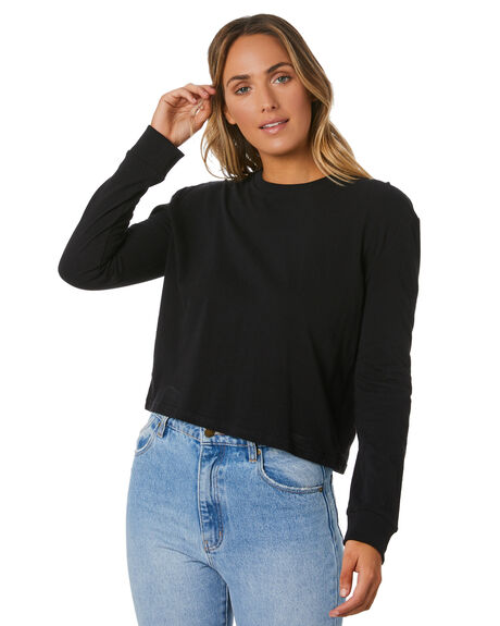 BLACK WOMENS CLOTHING NUDE LUCY TEES - NU23900BLK