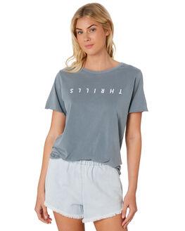 DUSTY  BLUE WOMENS CLOTHING THRILLS TEES - WTR8-112EDBLU