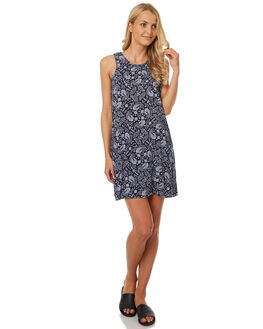 NAVY PAISLEY PRINT WOMENS CLOTHING ALL ABOUT EVE DRESSES - 6401085PRNT