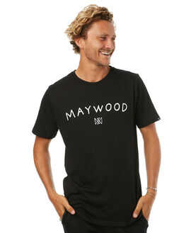 BLACK WHITE MENS CLOTHING MAYWOOD TEES - MTE706BLK
