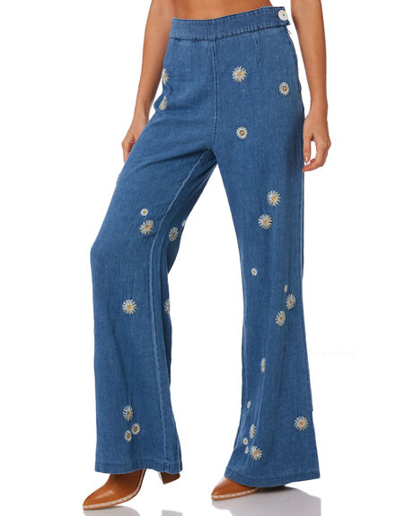 BLUE WOMENS CLOTHING FREE PEOPLE JEANS - OB938069-5413
