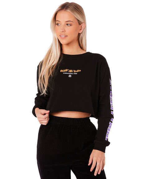 BLACK WOMENS CLOTHING STUSSY TEES - ST187005BLK