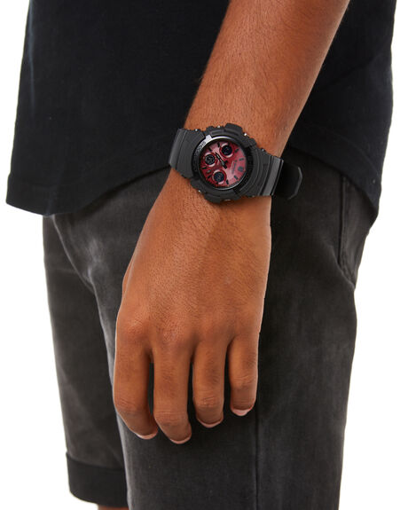BLACK RED MENS ACCESSORIES G SHOCK WATCHES - AWR-M100SAR-1ADRBKRD
