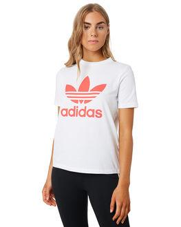 WHITE FLASH RED WOMENS CLOTHING ADIDAS TEES - FJ9455WHIRD
