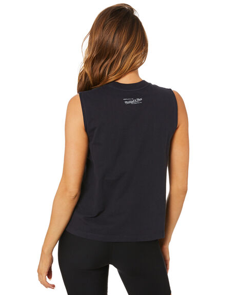FADED BLACK WOMENS CLOTHING MITCHELL AND NESS SINGLETS - MNCG0066FBLK