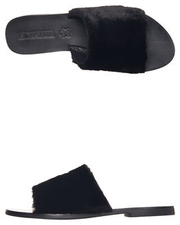 BLACK WOMENS FOOTWEAR SOL SANA SLIDES - SS181W420BLK