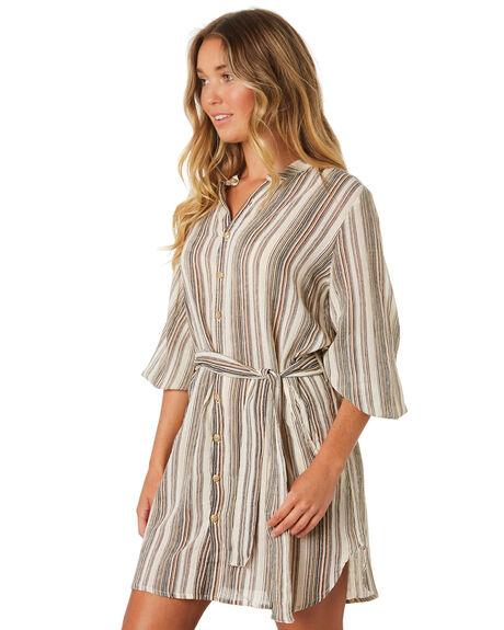 VINTAGE STRIPE BROWN WOMENS CLOTHING LILYA DRESSES - CD12-LAW19VBRN