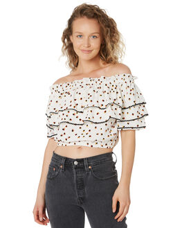 WHITE WOMENS CLOTHING TIGERLILY FASHION TOPS - T395047WHT