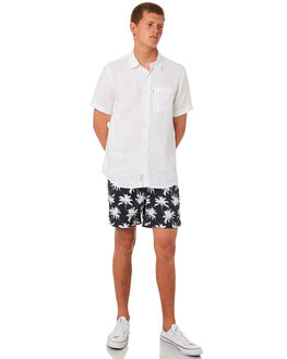BLACK WHITE MENS CLOTHING ACADEMY BRAND BOARDSHORTS - 19S716BKWH