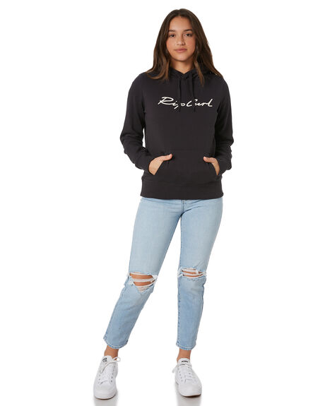 WASHED BLACK WOMENS CLOTHING RIP CURL HOODIES + SWEATS - GFECO98264