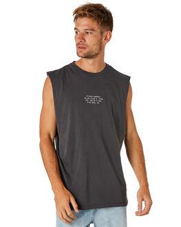 VINTAGE BLACK MENS CLOTHING THRILLS SINGLETS - TS8-101VBVNBLK