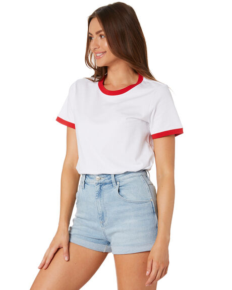 WHITE RED WOMENS CLOTHING AS COLOUR TEES - 4053WTHTRD
