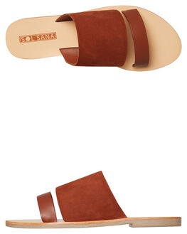 BURNT TAN WOMENS FOOTWEAR SOL SANA SLIDES - SS182S405BTAN