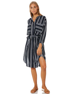 NAVY STRIPE WOMENS CLOTHING SEAFOLLY DRESSES - 53898-DRNVSTR