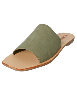 KHAKI SUEDE WOMENS FOOTWEAR SOL SANA SLIDES - SS192S426KHAK