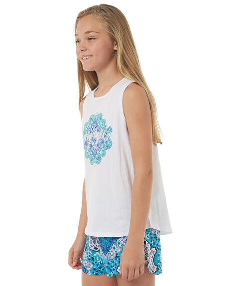 WHITE KIDS GIRLS RIP CURL SINGLETS - JTECP11000