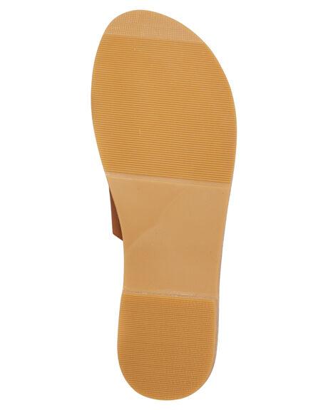 TAN LEATHER WOMENS FOOTWEAR HUMAN FOOTWEAR SLIDES - TRINITYTLTR