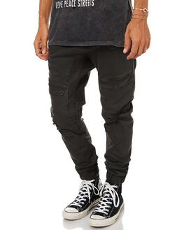 WASHED BLACK MENS CLOTHING NENA AND PASADENA PANTS - NPMFP004WASB