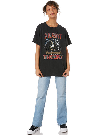 WASHED BLACK WOMENS CLOTHING SILENT THEORY TEES - 6083003WBLK