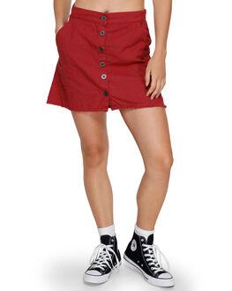 BRICK RED WOMENS CLOTHING RVCA SKIRTS - RV-R291833-BRD