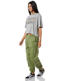 KHAKI WOMENS CLOTHING STUSSY PANTS - ST195620KHK