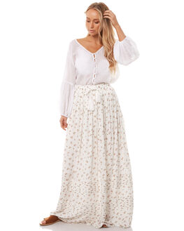 WHITE FLORAL WOMENS CLOTHING WILDE WILLOW SKIRTS - K364WHT