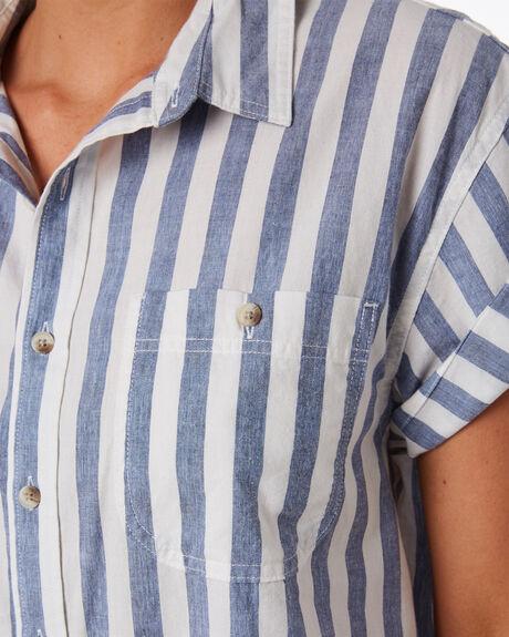 BLUE WHITE WOMENS CLOTHING ROLLAS FASHION TOPS - 13139BLUWH