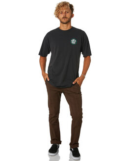 WASHED BLACK GREEN MENS CLOTHING BRIXTON TEES - 06519WBLKG