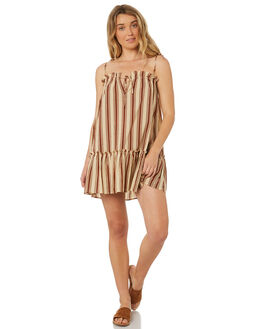 BROWN STRIPE WOMENS CLOTHING RUE STIIC DRESSES - WS18-18-BS-CBBRSTR