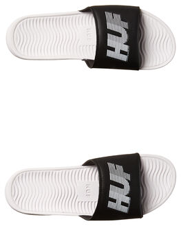BLACK WHITE MENS FOOTWEAR HUF SLIDES - CP00003BLK