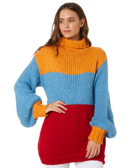 YELLOW BLUE RED WOMENS CLOTHING MLM LABEL KNITS + CARDIGANS - MLM537BMUL