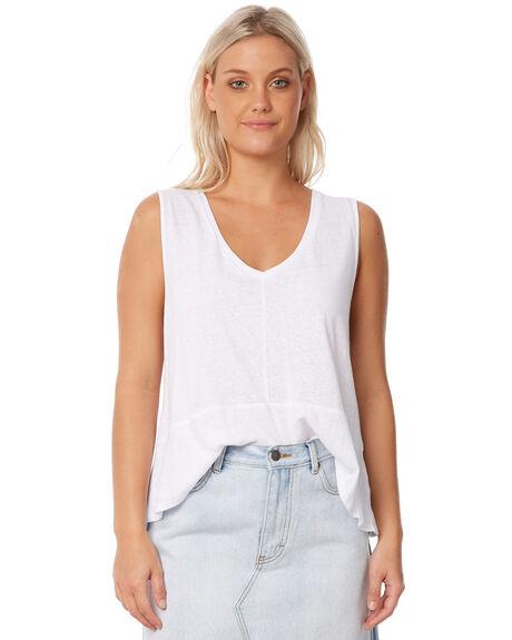 WHITE WOMENS CLOTHING RUSTY SINGLETS - TSL0539WHT