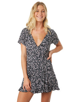 BLACK DITSY WOMENS CLOTHING RUSTY DRESSES - DRL0958LKD