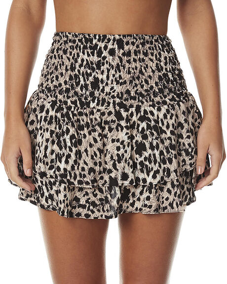 WILD LEOPARD WOMENS CLOTHING AUGUSTE SKIRTS - AUG-SM1-16620-WLWIL