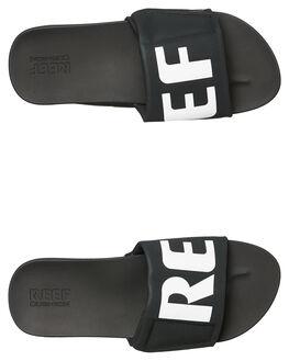 BLACK WHITE MENS FOOTWEAR REEF SLIDES - A3OL5BIO