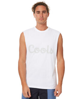 WHITE MENS CLOTHING BARNEY COOLS SINGLETS - 166-MC3WHT